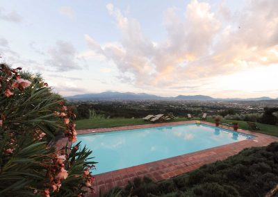 view from villa retreat pool, Tuscany